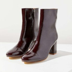 Urban Outfitters Alana Crinkle Patent Red Boots